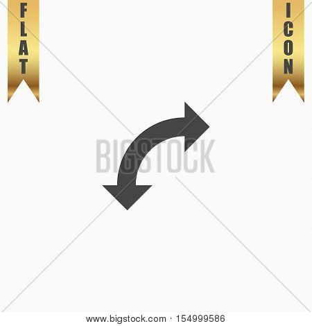 Turn arrow. Flat Icon. Vector illustration grey symbol on white background with gold ribbon