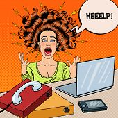 Pop Art Aggressive Furious Screaming Woman with Laptop at Office Work. Vector illustration poster