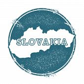 Grunge rubber stamp with name and map of Slovakia vector illustration. Can be used as insignia logotype label sticker or badge of the country. poster