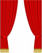 Red stage curtain isolated on white. Vector. poster