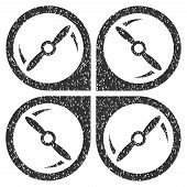 Quadcopter Screws Rotation grainy textured icon for overlay watermark stamps. Flat symbol with dust texture. Dotted glyph gray ink rubber seal stamp with grunge design on a white background. poster