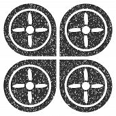 Quadrocopter grainy textured icon for overlay watermark stamps. Flat symbol with dust texture. Dotted glyph gray ink rubber seal stamp with grunge design on a white background. poster