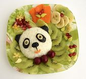 the panda is made of rice. Creative food for good mood and appetite. poster