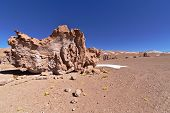 Erosion sculpted rocks in the desert of Atacama Chile. poster