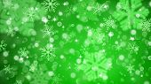Christmas background with white blurred and clear snowflakes on green background. Big fuzzy and clear small snowflakes. Christmas vector illustration of beautiful snowflakes poster