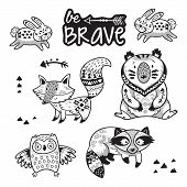 Set of cute woodland animals isolated on white background with text be brave. Coloring book page with woodland tribal animals. Black and white vector illustration of fox, raccoon, bear, rabbit and owl poster