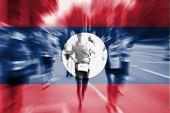 Marathon runner motion blur with blending Lao PDR flag poster