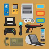 Vintage digital entertainment flat icons. Old retro game elements like joystick, cartridge and arcade game console. Vector illustration poster
