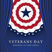 Veterans Day Honoring All Who Served. Veterans Day Background With Circle Wavy USA Flag Design. Vector illustration poster