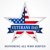 Veterans day Honoring all who served, USA flag on background in star. Veterans day USA star ribbon white poster