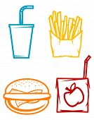 Set of fast food symbols. Vector version also available poster