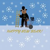 Bear in chimney-sweepers clothes with a ladder, brush and balls with the words Happy New Bear, pun. poster