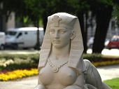 old sphinx restored in park in osijek croatia poster