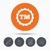 Registered TM trademark icon. Intellectual work protection symbol. Speech bubbles. Pen, hand click and chart. Orange circle button with icon. Vector poster