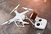 Drone quadcopter with remote control and gadget poster