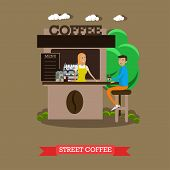 Street coffee shop concept vector banner. Takeaway kiosk in flat style. Design elements and icons. Customer at stall. poster