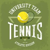 Racket with tennis ball for t-shirt logo with text university team. Sportswear design for tennis branding or tennis t-shirt print. May be used for sport theme or tennis championship theme poster