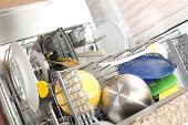 dishwasher with dirty dishes (selective focus with shallow DOF) poster