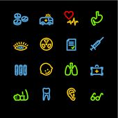 neon medicine icons (raster) poster