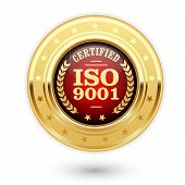 ISO 9001 certified medal - quality management system insignia poster