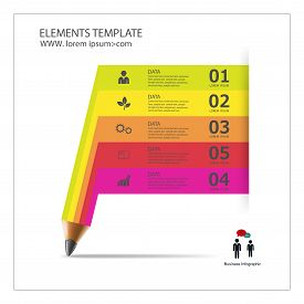 Infographic Template with pencil ribbon banner. banner template vector .