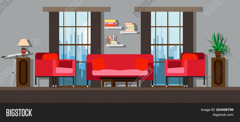 Interior living room home furniture design modern house apartment sofa vector flat bright window