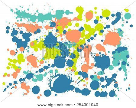 Watercolor Stains Grunge Background Vector. Hand Drawn Ink Splatter, Spray Blots, Dirt Spot Elements