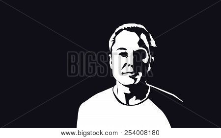Aug, 2018: Famous Founder, Ceo And Entrepreneur Elon Musk Vector Portrait. Elon Musk White Silhouett