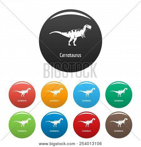 Carnotaurus Icon. Simple Illustration Of Carnotaurus Icons Set Color Isolated On White