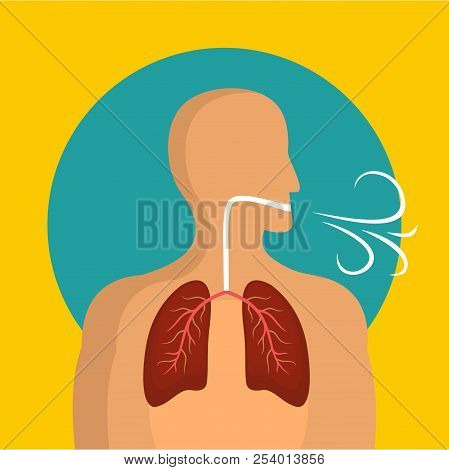 Breathing Lungs Icon. Flat Illustration Of Breathing Lungs Icon For Web Design