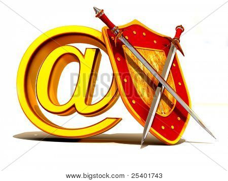 Shield, sword with symbol for internet. 3d