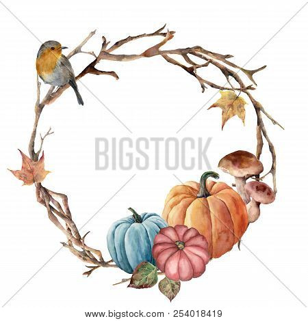 Watercolor Autumn Tree Branch, Bird And Pumpkin Wreath. Hand Painted Wreath With Robin, Mushroom And