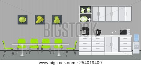 Office kitchen. Dining room in office. There are kitchen cabinets, a table, green chairs, microwave, kettle and coffee machine in the image. There are pictures with green fruits on the wall. Vector poster