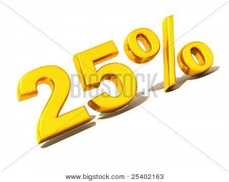 Twenty-five percent. Gold. 3d