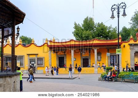 MEXICO CITY,MEXICO - JULY 13,2018 : The main square and the town hall at the historic neighborhood of Coyoacan in Mexico City