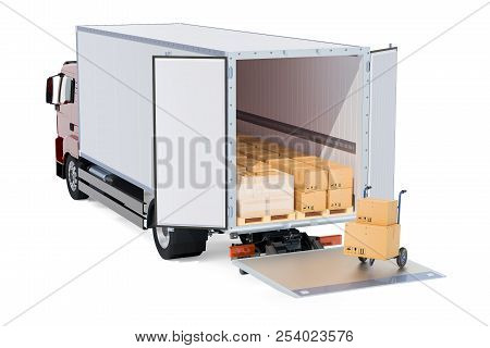 Freight Transportation, Delivery Concept. Truck With Parcels And Pallet Truck With Cardboard Boxes,