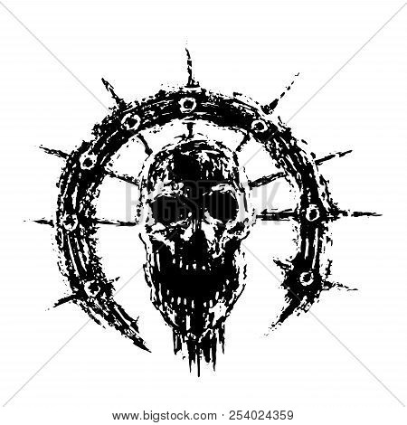 Scary Zombie Skull In Ring With Spikes. Vector Illustration. Genre Of Horror. Terrible Character