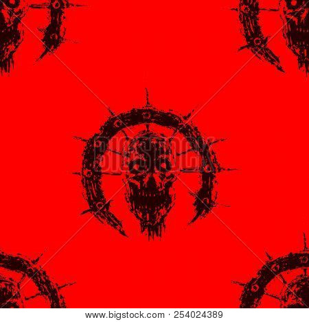 Scary Zombie Head In Ring With Spikes. Vector Illustration. Genre Of Horror. Red Color Pattern