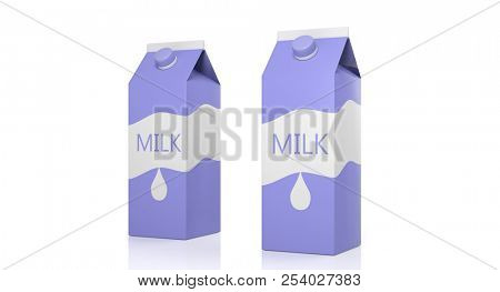 Dairy products. Two milk carton boxes isolated on white background. 3d illustration