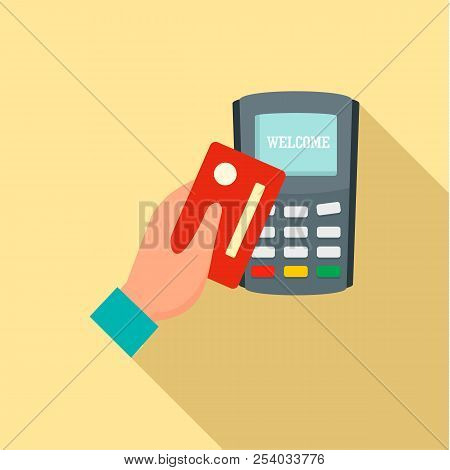 Credit Card Pay Device Icon. Flat Illustration Of Credit Card Pay Device Vector Icon For Web Design
