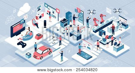 Blockchain, Internet Of Things And Lifestyle: People Using Connected Devices And Touch Screen Interf