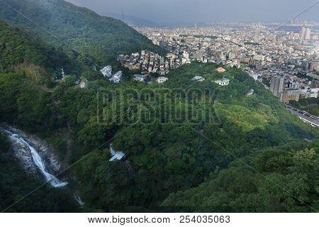 Birdeye View Of Kobe Cityscape, Mountain,forest And  Nunobiki Waterfall From  Ropewape To Mount Rokk