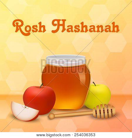 Rosh Hashanah Holiday Concept Background. Realistic Illustration Of Rosh Hashanah Holiday Vector Con