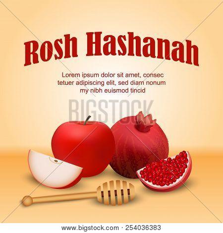 Rosh Hashanah Jewish Holiday Concept Background. Realistic Illustration Of Rosh Hashanah Jewish Holi