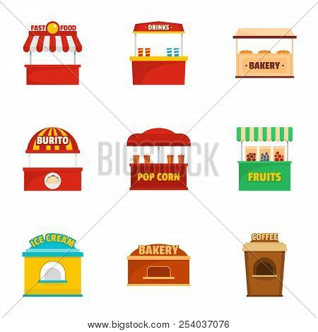 Holiday Shop Icons Set. Cartoon Set Of 9 Holiday Shop Vector Icons For Web Isolated On White Backgro