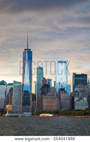 New York City Manhattan Downtown Skyline At Sunset