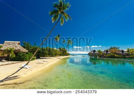 Tropical resort with amazing lagoon on Moorea, Tahiti, French Polynesia