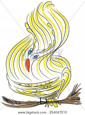 Cute Yellow Bird.  Illustration Of Yellow Bird On The Tree Branch.