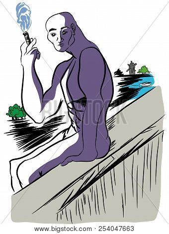 On The Edge Of The Precipice.   Illusttation Of Naked Man Sitting On The Edge Of The Precipice. Man
