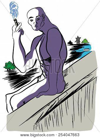 On The Edge Of The Precipice.   Illusttation Of Naked Man Sitting On The Edge Of The Precipice. Man